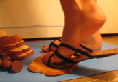 Bread crush-sandals and barefoot