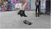 Various girls crushing many toys, cars
