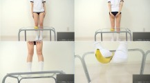 Japanese Schoolgirl, Plays With And Crushes Banana with School Shoes